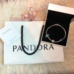 Brand New Silver PANDORA Bracelet & Charms Gift